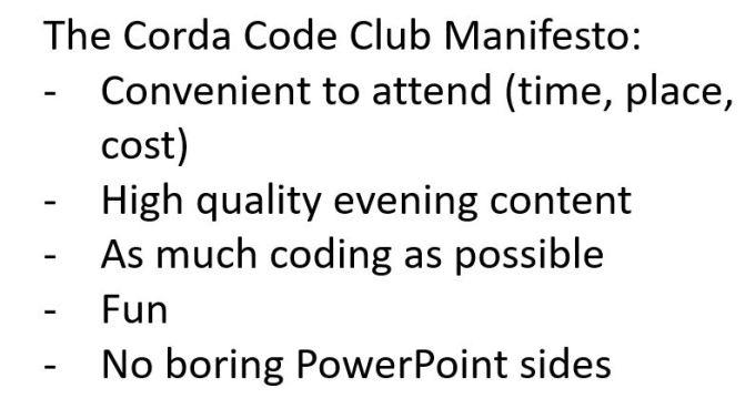 Corda Code Club Manifesto